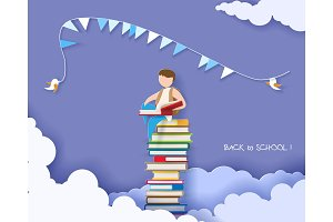 Back to school card with boy and