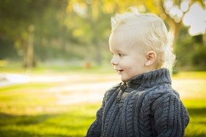 Adorable Blonde Baby Boy Outdoors at