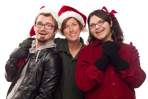 Three Friends Wearing Warm Holiday A