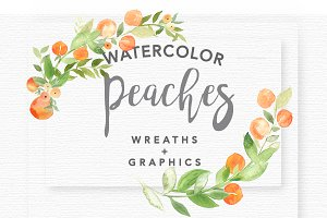 Watercolor Peaches + Greenery