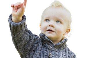 Cute Little Boy In Sweater Pointing