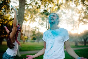 Couple celebrating festival of color