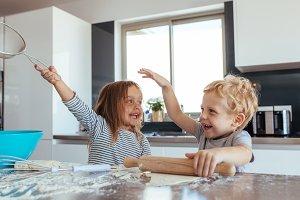 Children making cookies