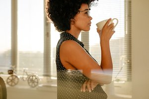 Businesswoman having a coffee break