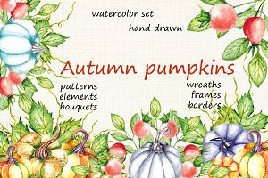 Autumn Pumpkins. Watercolor Set.