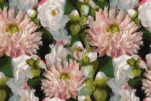 Flower peony seamless pattern vector