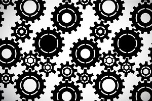 Black white gears seamless pattern