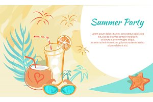 Summer Party Poster with Cocktails