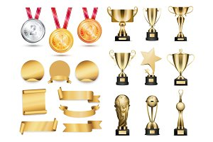 Medals and Cups Icons Color Vector