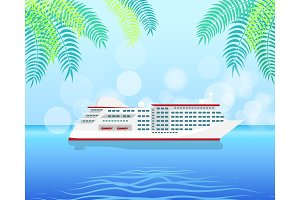 Cruise White Luxury Ship Isolated on