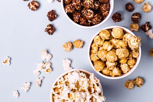 set of sweet and salted popcorn in p