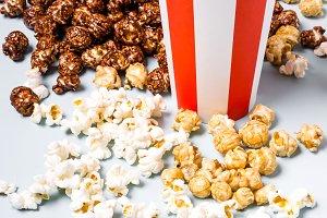 Assorted popcorn set in paper stripe