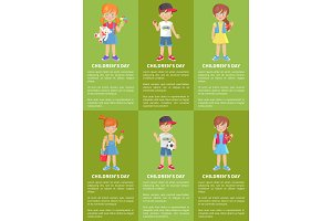 Childrens Day Web Banners with Boys