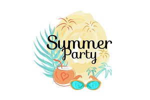 Summer Party Poster with Cocktail in