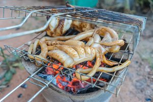 Grilled Squid or seafood on stove