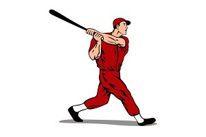 Baseball Player Batter Retro