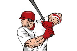 Baseball Player Batting Side Retro