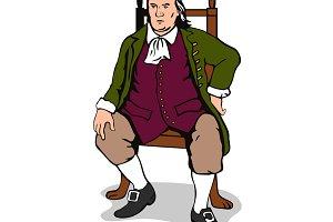 Benjamin Franklin Sitting Retro
