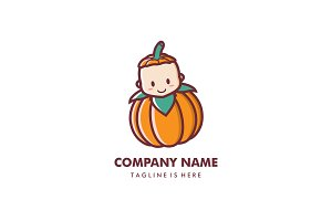 Cute smiling baby pumpkin logo