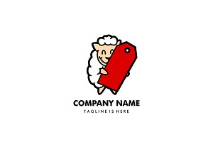 sheep price tag logo mascot
