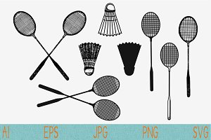 Badminton racket, shuttlecock svg