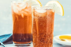 Iced tea in highballs