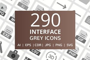 290 Interface Grey Icons
