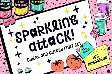 Sparkling Attack! Font by  in Display Fonts