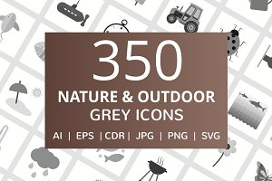 350 Nature & Outdoor Grey Icons