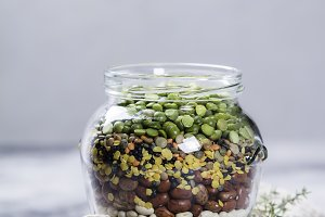 Legumes - lentils chickpeas beans an