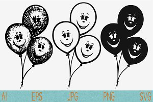 balloons, set vector svg png eps