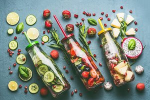 Colorful infused water bottles