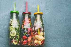 Variety of colorful infused water