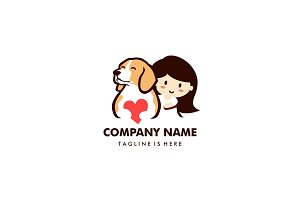 dog love with little girl logo