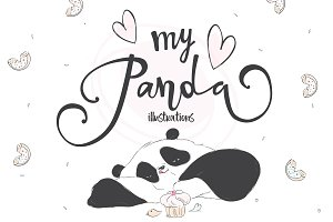 Cute pandas illustrations  * . *