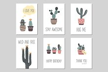 Cactus and succulents greeting cards