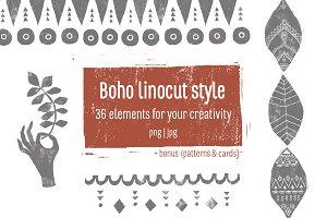 Boho Linocut Style