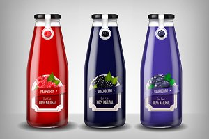 Glass berrie bottle set advertising
