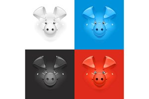 Pig. Set of icon at different colour