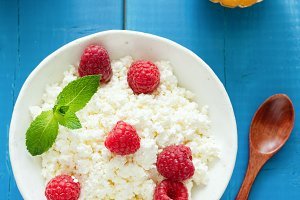Fresh ricotta or curd cheese