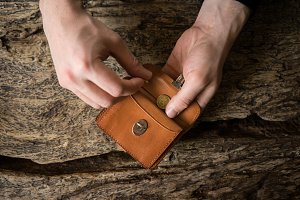 Leather wallet in man¥s hands