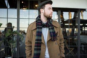 British style man outdoors