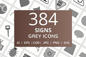 384 Signs Grey Icons