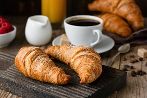 Breakfast with croissants and coffee