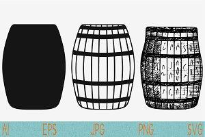 wooden barrel, set vector svg png