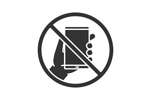 Forbidden sign with phone glyph icon