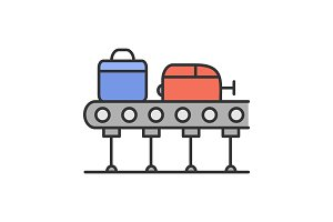 Baggage carousel color icon