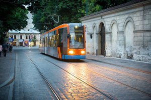 Tram on european city street