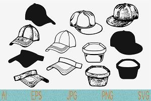 baseball cap, visor set vector svg