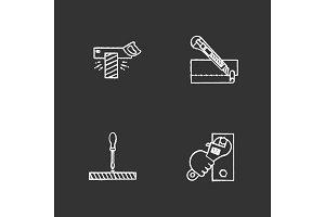 Construction tools chalk icons set